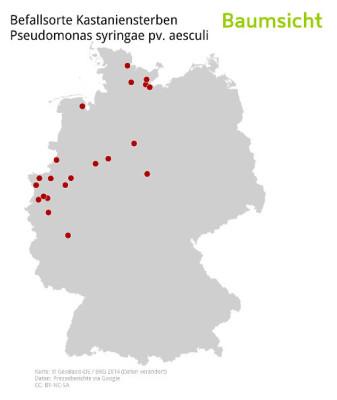 Die Karte zeigt die derzeitige Ausbreitung von Pseudomonas an Kastanie anhand von Medienberichten.